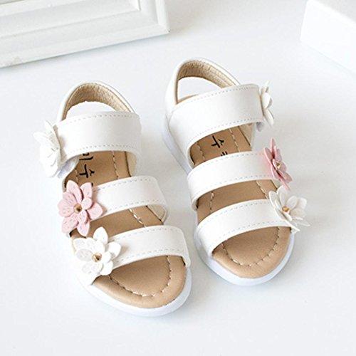 Kinder Sandalen mit Blumen, Lauflernschuhe (25, Weiß) - 4