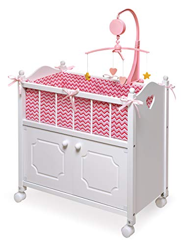 Badger Basket Cabinet Doll Crib with Chevron Bedding, Musical Mobile, Wheels, and Free Personalization Kit (fits American Girl Dolls)