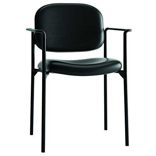 HON Scatter Guest Chair with Arms- Leather Stacking Office Furniture , Black (VL616)
