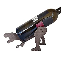 6. Fengxing Wooden Dino Wino Thirsty T-Rex Wine Bottle Holder Caddy