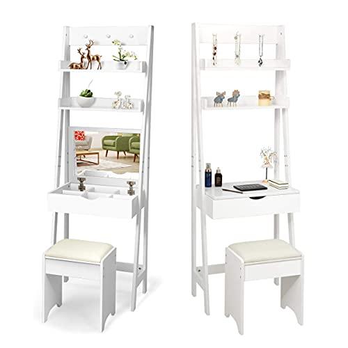 RELAX4LIFE Schminktisch mit Hocker, Frisiertisch mit aufklappbarem Spiegel, Kosmetiktisch mit 2 Regalen & 6 Fächern & 3 Haken, Schreibtisch mit Umkippschutz, Make-up Tisch für Frau & Mädchen, weiß