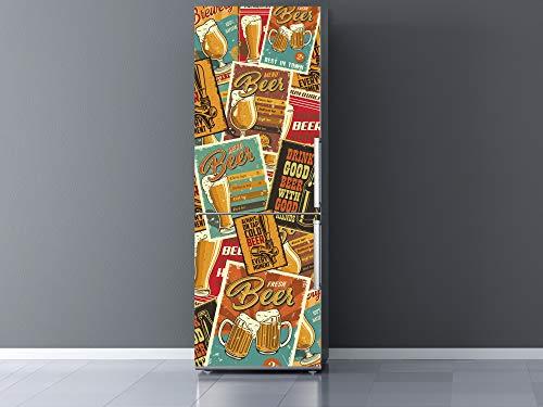 Oedim Vinilo para Frigorífico Sellos Cerveza 60x200cm | Adhesivo Resistente y Económico | Pegatina Adhesiva Decorativa de Diseño Elegante