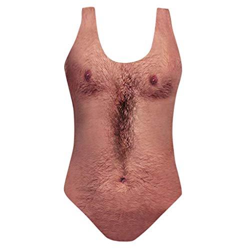 Sylar Bikinis Mujer 2019 Push Up Traje De Baño Mujer Una Pieza Impresión De Pelo En El Pecho Bañador Bañadores con Relleno Push Uptraje De Baño Atlético