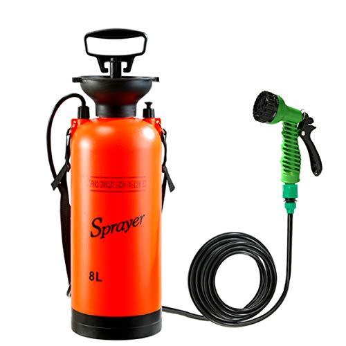 Pulverizador de presión multifunción - sulfatadora portátil para acampar al aire libre con 7 modos de pulverización de agua Boquillas Lanza para ducha al aire libre, riego, lavado de autos, etc,8L