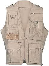Humvee HMV-VS-K-M Medium Cotton Safari Vest with Extra Pockets, Khaki