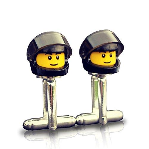 Motorhelm en vizier Manchetknopen (zwart) Handgemaakt van Lego® Minifiguurkoppen, Biker, Motorfiets, bruiloft, Groom, Heren nieuwigheid, Gift Bag