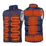 MJJAN Chaleco calentado de 9 lugares para hombres y mujeres, chaqueta calentada por USB, ropa térmica para caza, chaqueta de calor, azul, 5XL