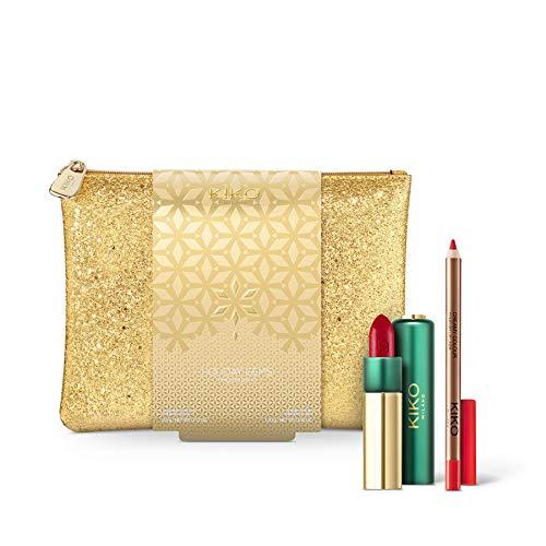 KIKO Milano Holiday Gems - Kit de labios atemporal, lápiz labial Gossamer + delineador de labios + bolsa de maquillaje Set de regalo (03 Boss Lady)