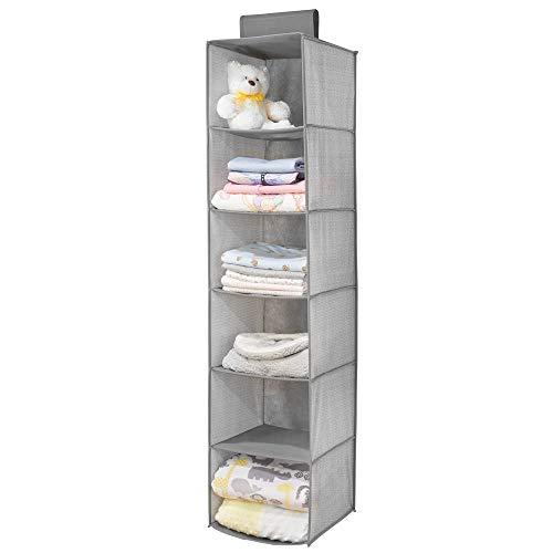 mDesign - Hangende opberger met 6 vakken - babykamer organizer - voor kleding/schoenen/speelgoed en meer - ademend/synthetisch materiaal - grijs visgraatpatroon