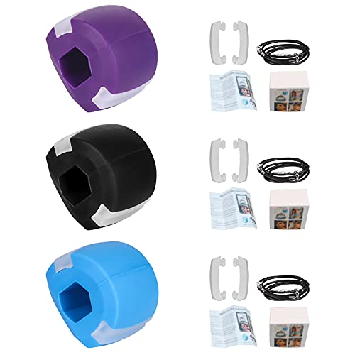 Jawline Exerciser Define Jawline - Jaw Exerciser Trainer Strengthener - Double Chin Reducer Slim and Tone Your Face - Facial Exerciser Neck Exerciser for Men Women (Blue Purple Black)