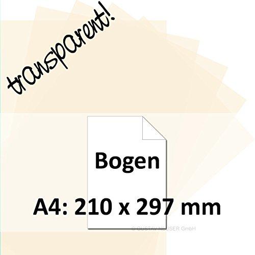 25x Artoz Perga Pastell - DIN A4 Bogen 100 g/m² - vanille - transparentes Papier - Ideal für Einladungen und Bastelarbeiten