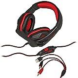 1. Headset Gamer KP-396 Pc Fone Ouvido + Adaptador Ps4 Celular Vermelho