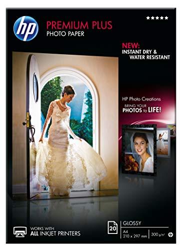 HP Premium Plus Photo Paper, CR672A, Confezione da 20 Fogli DIN A4 di Carta Fotografica Lucida Originale HP, per Stampanti a Getto di Inchiostro, Dimensione 210 x 297 mm, Grammatura 380 g/m², Bianca