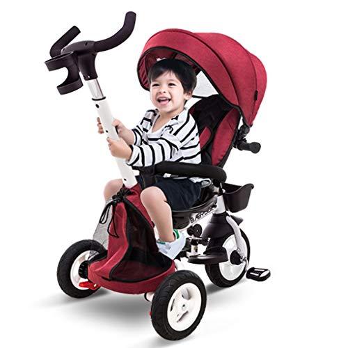 Kinderfahrrad, 3-Rad Klappbaby 1-3-5 Jahre alt Trolley Selbstfahrender Kinderwagen Wendbare tragbare Markise Regen (Color : Red)