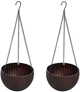 U-House Hanging Basket Rattan Plastic Flower Pot Round Resin Garden Hanging Planter for Indoor Outdoor Plants 2 Pack Brown
