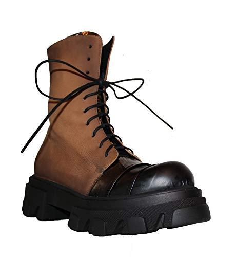 Papucei Stiefel Boots Gr. 38 Leder Nuria Brown - Black Plateau Damen