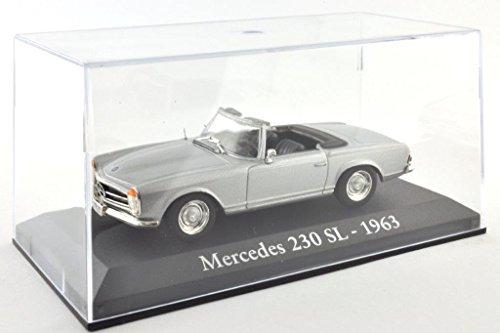 DieCast Metall Miniaturmodelle Modellauto 1:43 Oldtimer Klassiker Mercedes 230 SL Modell silber 1963 Altaya IXO inklusive Kunststoff Vitrine