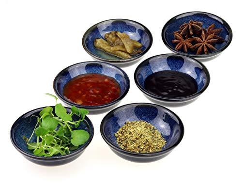 6 x Saucenschälchen Enra handgefertigt aus Edelkeramik (Marineblau)