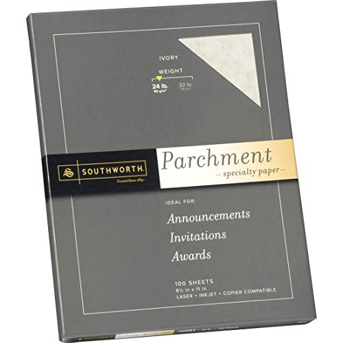 Parchment Specialty Paper 24 lbs 8-1/2 x 11 - 100/Box, Ivory
