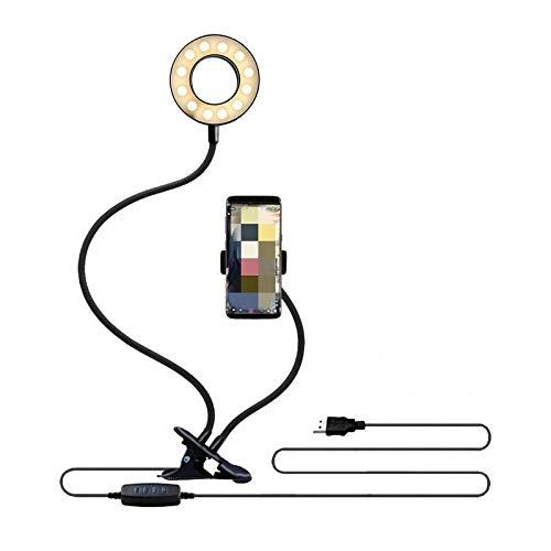 Luz LED universal con anillo de selfie con soporte flexible para teléfono móvil, lámpara de escritorio para transmisión en vivo, luz de anillo de video corta (color negro)