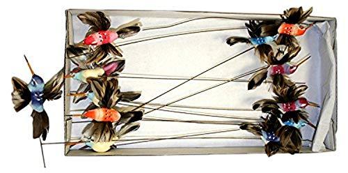 Reliant Ribbon 67214-001-Q Hummingbird Picks 1dz Rd Floral Accessories, 12 Pieces, Multi