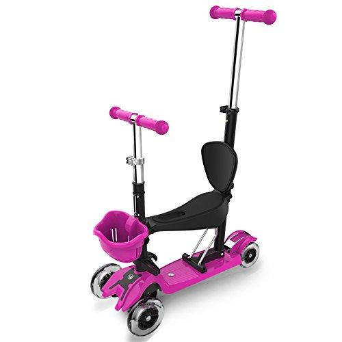 Scooter Para Niños - Adecuado Para Niños Y Niñas - Con 4 Ruedas De Flash, Diseño Extraíble, Manijas Ajustables,PurpleB
