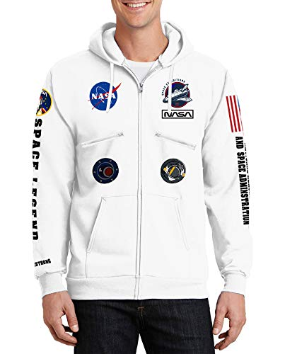 Na-sa Hoodie for Men - Astronaut Fleece Zipper White Graphic Hooded...