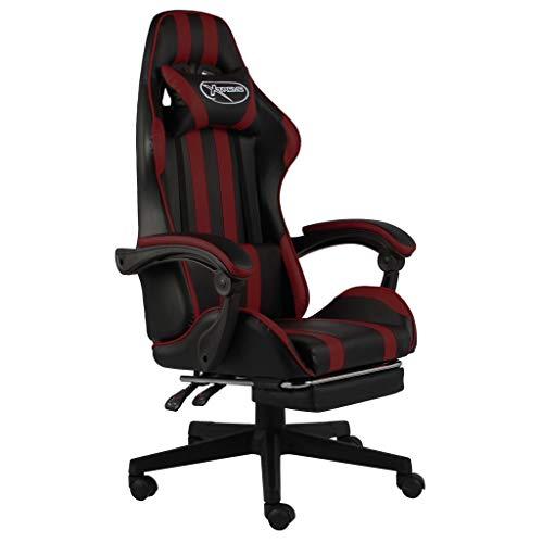 vidaXL Silla de escritorio con reposapiés, altura regulable, silla de oficina, silla giratoria, asiento deportivo, color negro y rojo vino