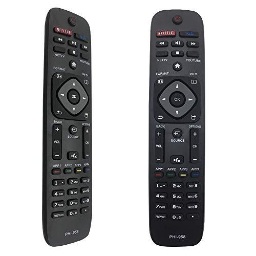 FOXRMT PHI-958 Telecomando Sostitutivo Telecomando Philips per Tutti Philips 4K UHD HDR LED LCD Smart TVs avec les Boutons NETFILX VODU - Telecomando Universale Philips