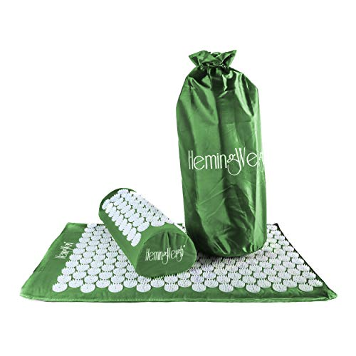 HemingWeigh Complete Acupressure Body Mat and Pillow Set with Bag, for Neck, Upper and Lower Back...