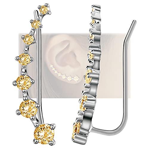 Pendientes para mujer con 7 estrellas, de plata de ley 925, hipoalergénicos, con circonita cúbica para regalo de cumpleaños amarillo