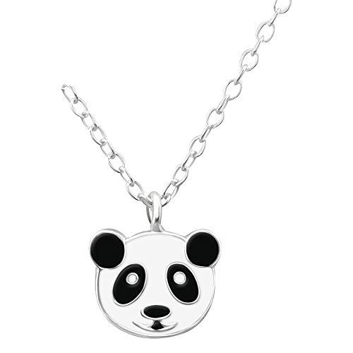 Laimons Kids Collana con ciondolo per bambini Panda Nero, Bianco Argento Sterling 925