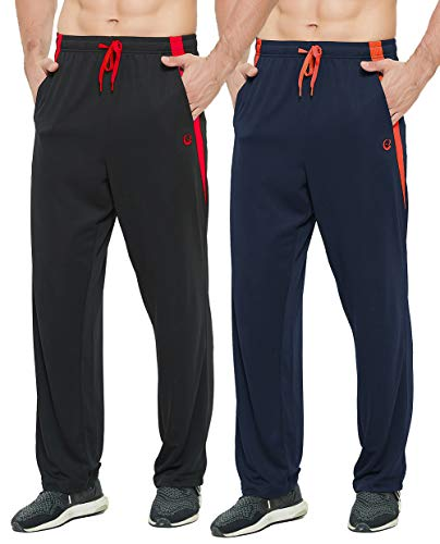E-SURPA Men's Athletic Pant with Pockets Open Bottom Sweatpants for Men Workout, Exercise, Running (0701-Black, Navy Blue M)