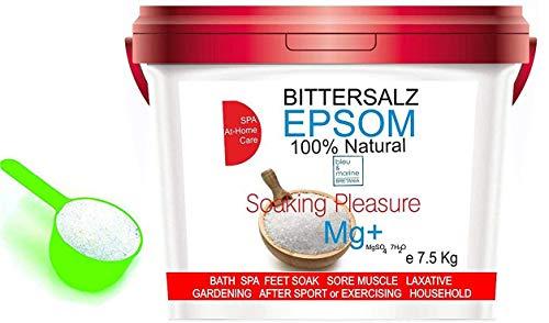 ORGANISCHER Bittersalz ● Epsom Salz Baden Soaking Pleasure ● Apothekenqualität für Ihre Gesundheit Badesalz Magnesiumsulfat Epsom Salt Food grade Magnesium pure (7.5 kg)
