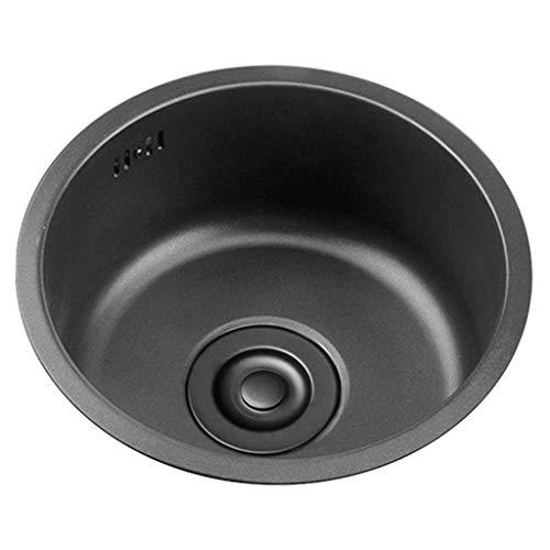 Schwarzes Rundes Waschbecken Küchenrenovierungsbecken Rundes Einzelwaschbecken Kleines Waschbecken Rundes Waschbecken Für Badezimmer Gemüse Und Geschirrspülbecken Waschen 1 Becken