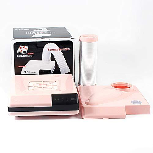 Aspirateur Manucure Nettoyeur de clous de bureau haute puissance à double usage Filtre vertical Machine de poussière de clou Éclairage LED Outil de nettoyage de clou 110v220v,Pink