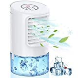 Mobile Air Conditioner Fan, 3 IN 1 Personal Space Cooler Desktop Portable Mini Evaporative Air Cooler Misting Fan Air Conditioner 3 Speed 7 Color LED Light White for Room, Office, Kitchen-Mkocean