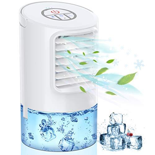 Mini Klimaanlage Klein Mobile Klimageräte,4 In 1 Persönlicher Luftkühler,Luftbefeuchter Wasserkühlung Ventilator mit Nachtlicht, 2/4H Timing 3 Modi 7 Stimmungslichtern Air Cooler für Zuhause und Büro