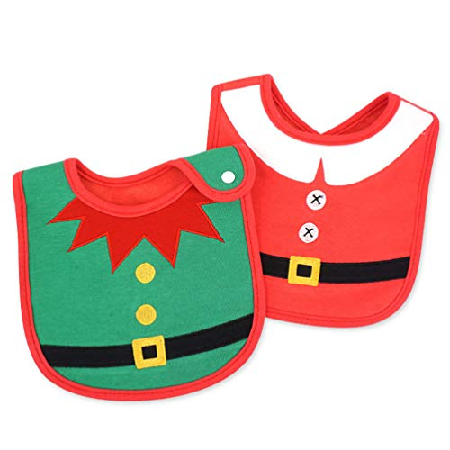 Amosfun 2Pcs Christmas Baby Bibs Elf Santa Snowman Reindeer Unisex Cotton Drool Milk Teething Feeding Meal Bibs Christmas Costume for Newborn Toddler Infant