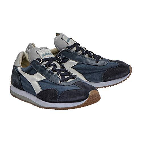 Diadora Heritage, Uomo, Equipe H Dirty Stone Wash Evo, Pelle/Tela, Sneakers, Blu, 41 EU