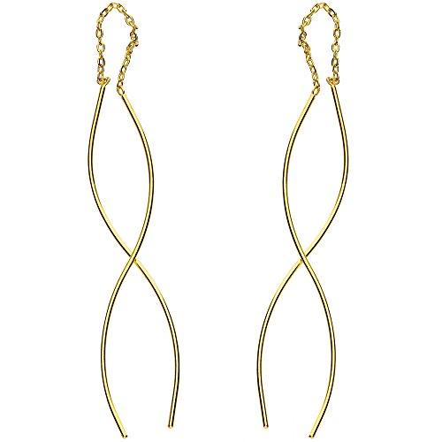 MYA Art Hängende Damen Ohrhänger Durchzieher 925 Sterling Silber Gelbgold Gold Vergoldet mit Spirale Ohrringe zum Durchziehen Hängend Lang MYASIOHR-50