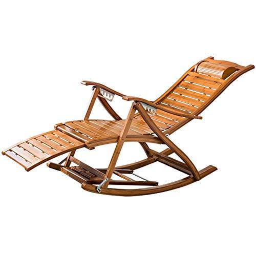 AYHa Taburete plegable de jardín Tumbona alisador de bambú mecedora reclinable ajustable al aire libre silla de gravedad cero fuerte carga robusta Max 200Kg