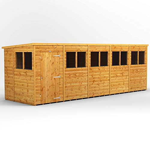 Power Sheds | 20x6 Power Pent Wooden Garden Shed | Size 20 x 6 | Super Fast 2-3 Day Delivery or Pick your own day