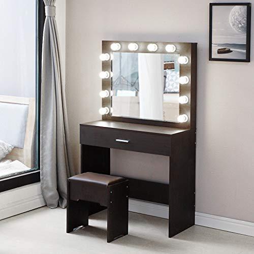 Zlolia Vanity Set With Lighted Mirror Makeup Vanity Dressing Table Dresser Desk With Large Drawer For Bedroom White Bedroom Furniture 12 Cool Led Bulbs Buy Online In Andorra At Andorra Desertcart Com Productid 208365989