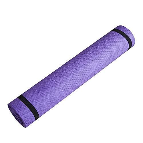 Esterilla de yoga antideslizante de 3 mm a 6 mm de grosor, espuma EVA cómoda de yoga mate para ejercicio, yoga y pilates (color: 3 mm morado)