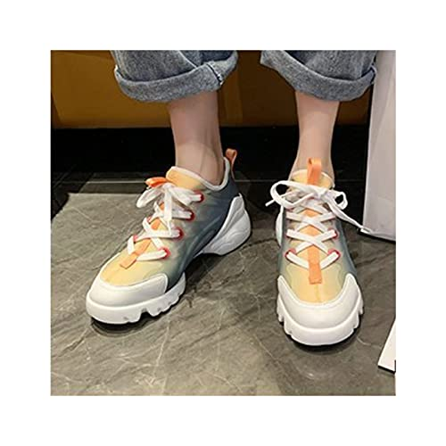 Women Sneakers Platform Non Slip Trainers Shoes Spring Autumn Lace Up Height Increasing Sports Shoes,Blue-35