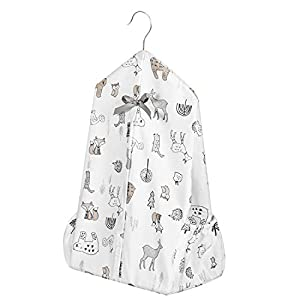 [Upgraded] TILLYOU Hanging Nursery Diaper Storage Organizer Portable Foldable Diaper Caddy Stacker with Side Pockets for Crib, Machine Washable and Roomy Space, DIY 3 Parts Included, Woodland Animals