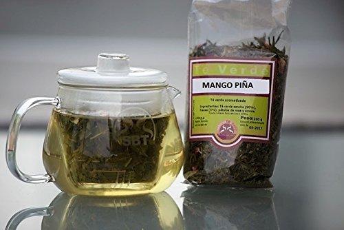 SABOREATE Y CAFE THE FLAVOUR SHOP Té Verde Sencha Japonés Mango y Piña En Hoja Hebra A Granel Infusión Natural Adelgazante 100 gr