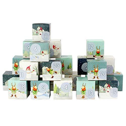 Papierdrachen DIY Adventskalender Kisten Set - Motiv Weihnachtsdorf mit Rentieren/Schneemännern - 24 Bunte Schachteln aus Karton zum Aufstellen und zum Befüllen - 24 Boxen - Weihnachten 2018