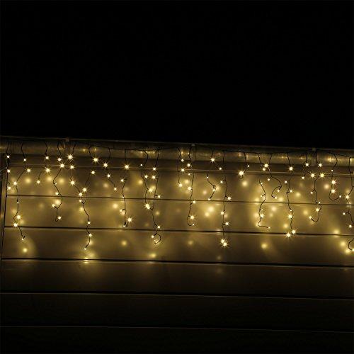 CLGarden LED Eisregen Lichterkette mit 400 warm weissen LEDs Schneefall Eislichtvorhang